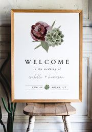 Ava - Boho Burgundy & Succulent Wedding Welcome Sign Template