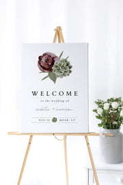 Ava - Boho Burgundy & Succulent Wedding Welcome Sign Template - Unmeasured Events