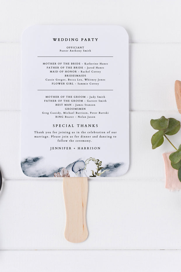 Alana - Modern Beach Wedding Program FanTemplate - Unmeasured Events