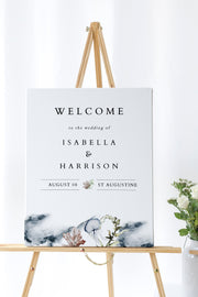 Alana - Modern Beach Wedding Welcome Sign Template