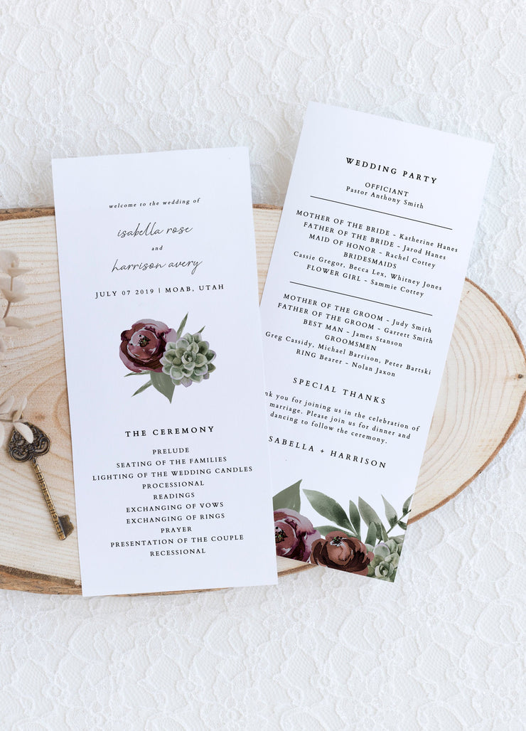 Ava - Boho Burgundy & Succulent Wedding  Wedding Program Template - Unmeasured Events