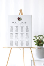 Ava - Boho Burgundy & Succulent Wedding Seating Chart Template - Unmeasured Events