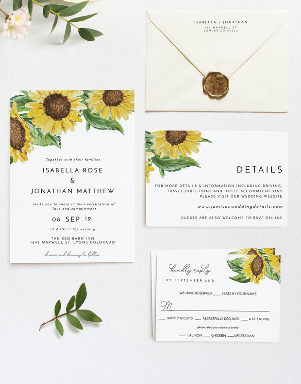 Emma - Rustic Sunflower Wedding Invitation Template Suite
