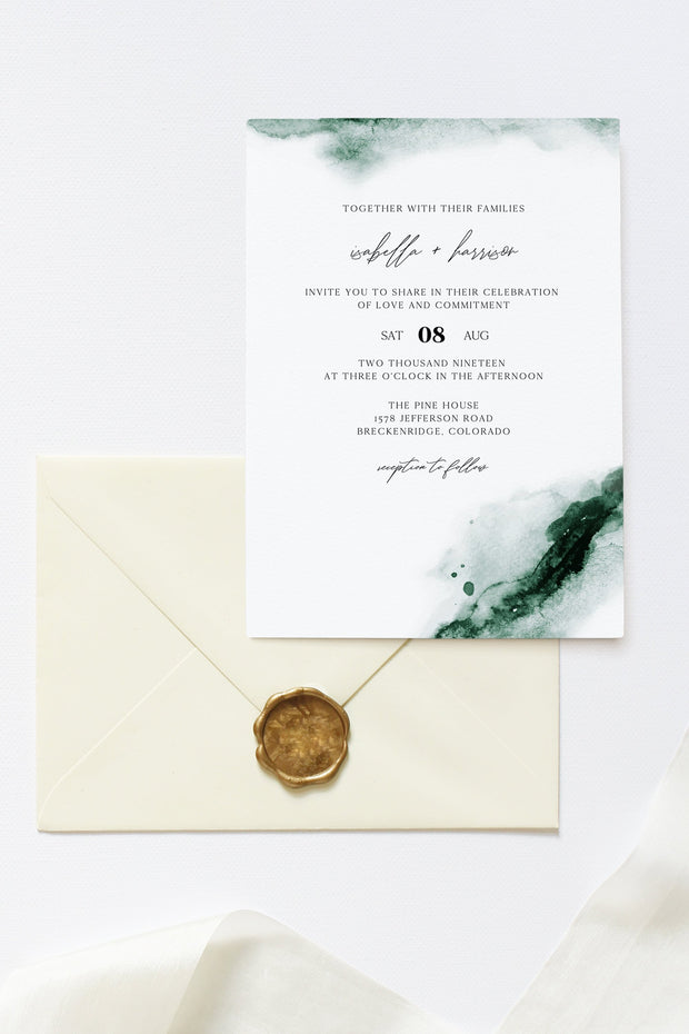 Emerald - Abstract Green Watercolor Wedding Invitation Template Suite