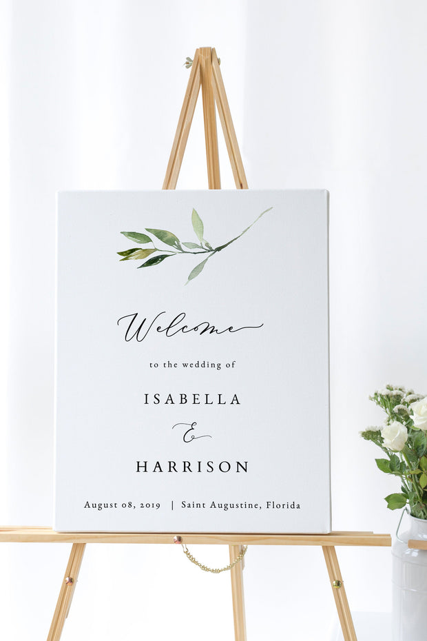 Isabella - Minimal Greenery Wedding Welcome Sign Template
