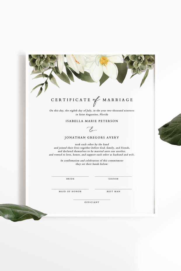 Cara - White Magnolia and Succulent Marriage Certificate Template - Unmeasured Events
