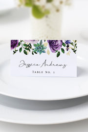 Olivia - Purple Floral and Succulent Place Card Template