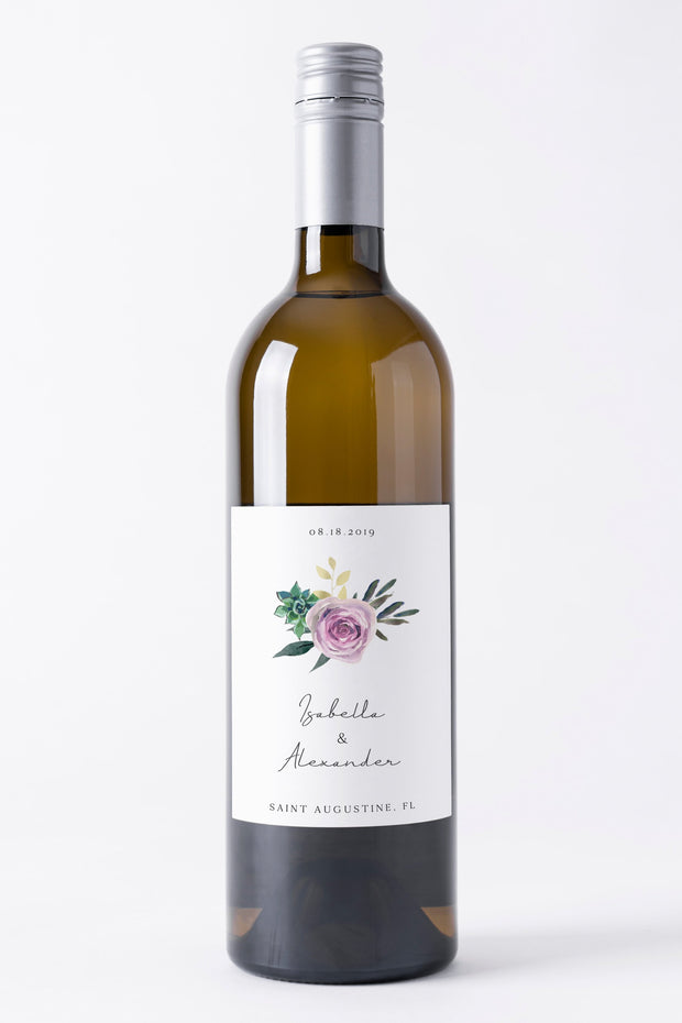 Olivia - Purple Floral and Succulent Wine Label Template - Unmeasured Events