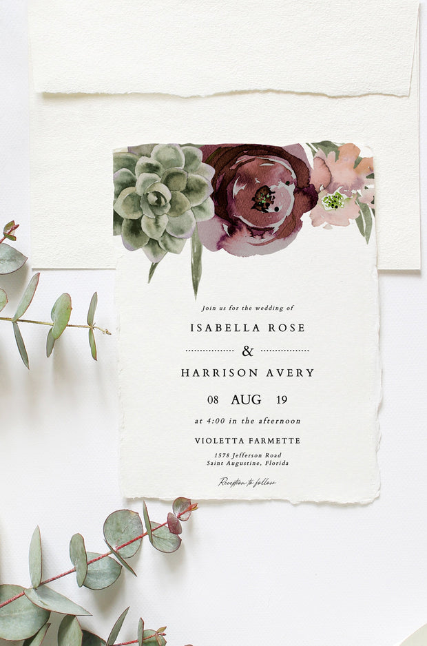 Ava - Boho Burgundy & Succulent Wedding Invitation Template Suite - Unmeasured Events