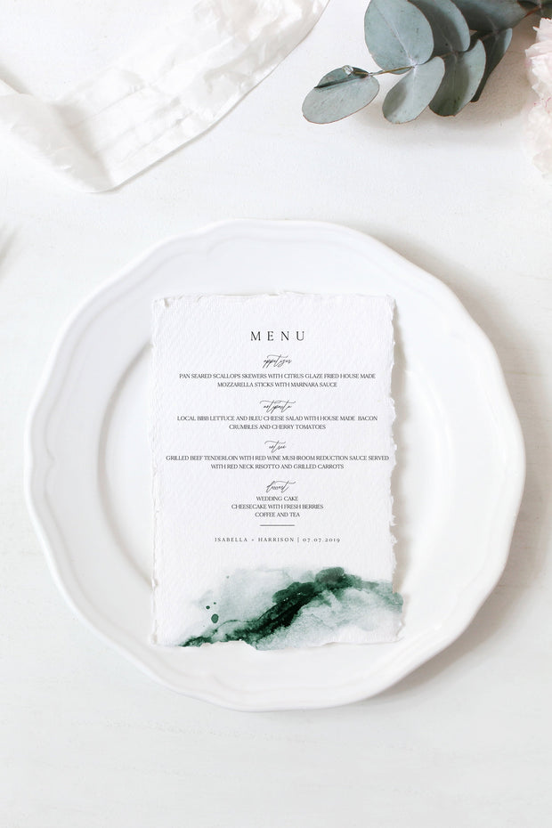 Emerald - Abstract Green Watercolor Wedding Menu Template