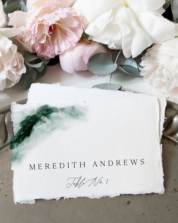 Emerald - Abstract Green Watercolor Wedding Place Card Template - Unmeasured Events