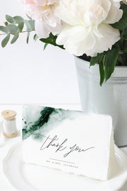 Emerald - Abstract Green Watercolor Wedding Thank You Card Template