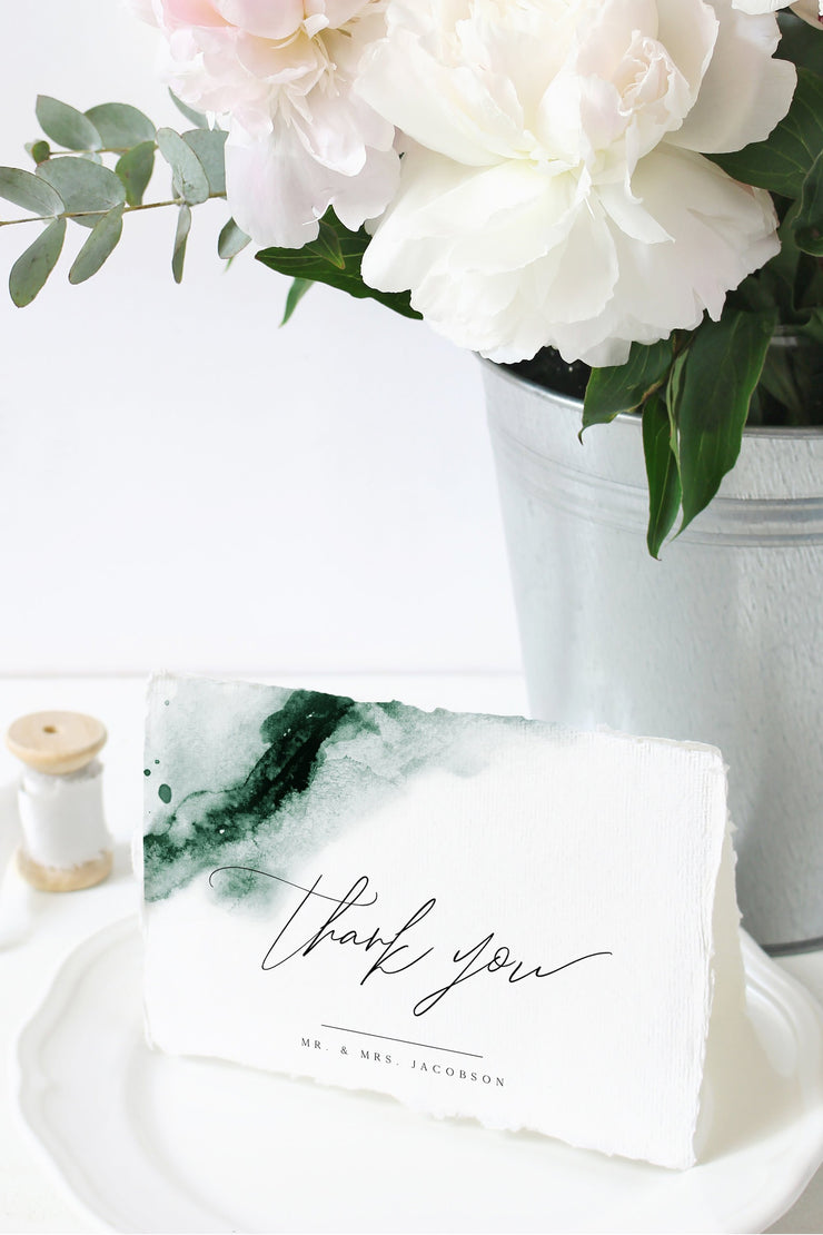 Emerald - Abstract Green Watercolor Wedding Thank You Card Template - Unmeasured Events