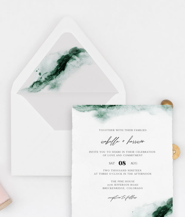 Emerald - Abstract Green Watercolor Wedding Envelope Liner Template - Unmeasured Events