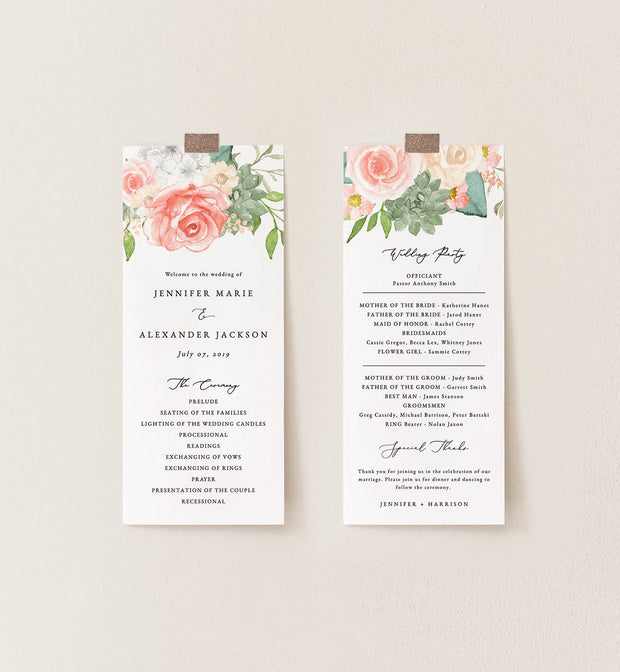 Finley - Rustic Peach Floral & Succulent Wedding Program Template - Unmeasured Events