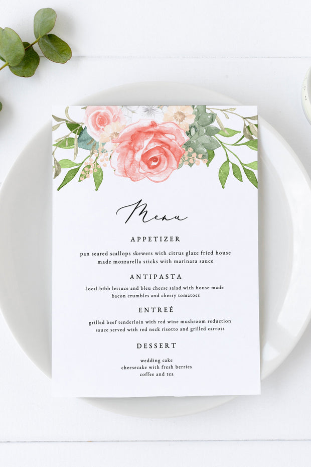 Finley - Rustic Peach Floral & Succulent Wedding Menu Template - Unmeasured Events