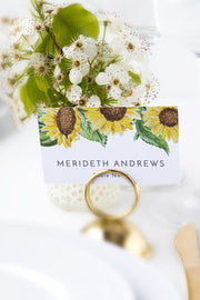Emma - Rustic Sunflower Wedding Place Card Template