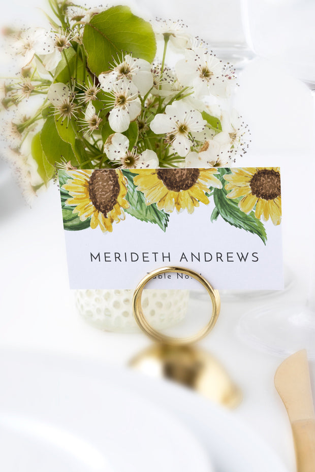 Emma - Rustic Sunflower Wedding Place Card Template - Unmeasured Events