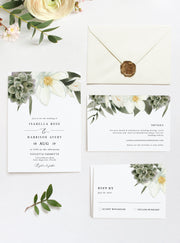 Cara - White Magnolia and Succulent Wedding  Invitation Template Suite Printable - Unmeasured Events