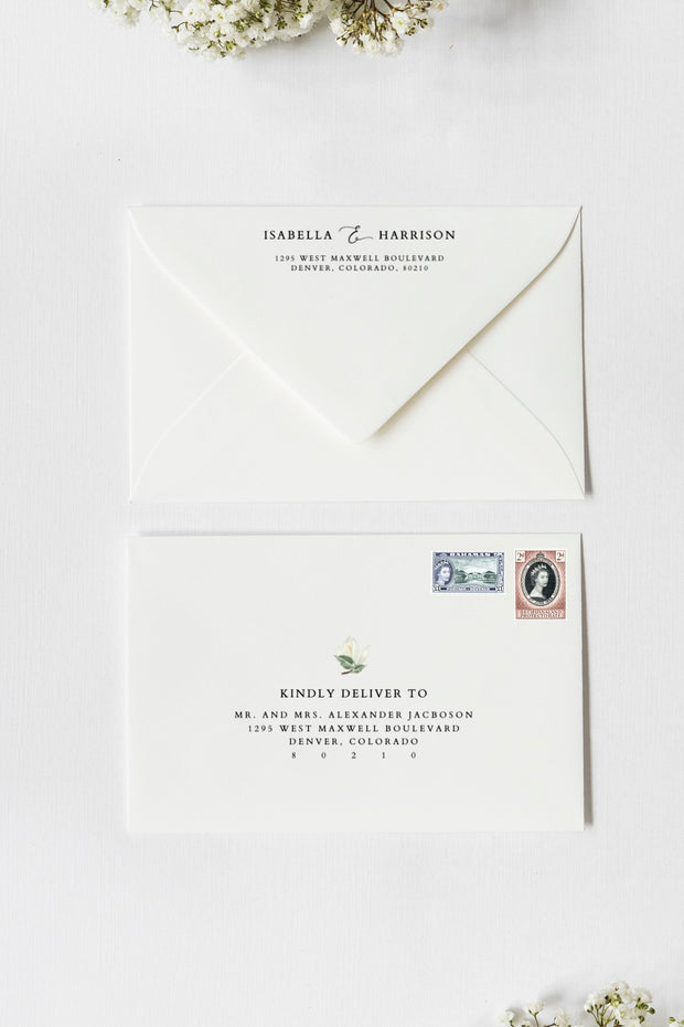 Cara - White Magnolia Wedding Envelope Address Template - Unmeasured Events