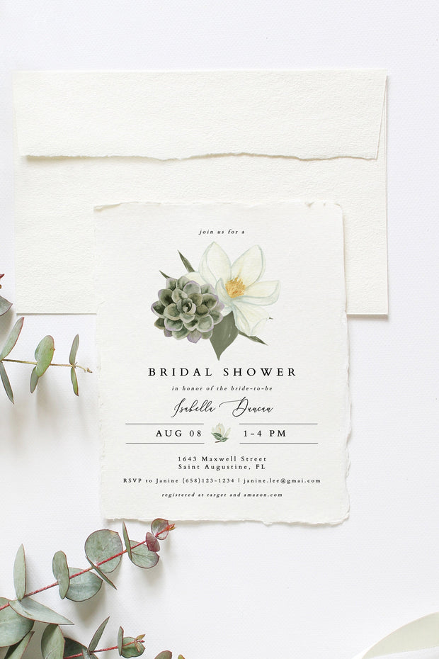 Cara - White Magnolia and Succulent Bridal Shower Invitation Template