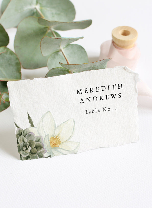 Cara - White Magnolia and Succulent Wedding Place Cards Template - Unmeasured Events