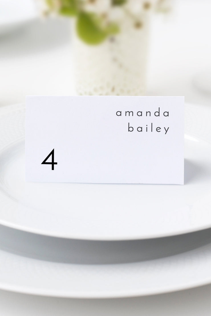 Adella - Modern Minimalist Wedding Place Cards Template - Unmeasured Events