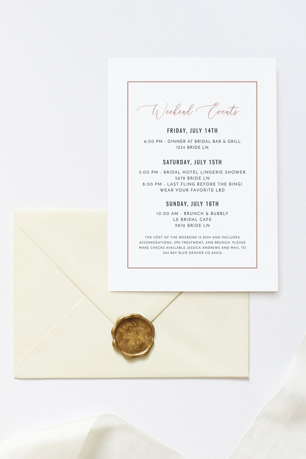 Genna - Rose Gold Vegas Before Vows Bachelorette Invitation Template - Unmeasured Events