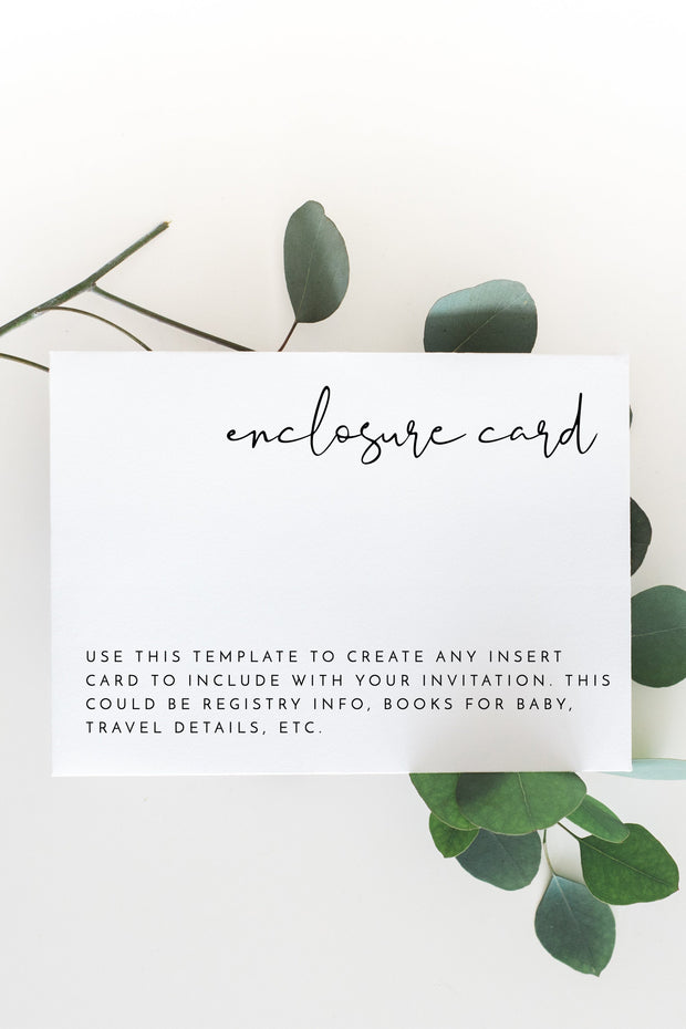 Adella -  Modern Minimalist Wedding Enclosure Card Template