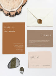 Mia - Burnt Orange Wedding Invitation Suite Templates