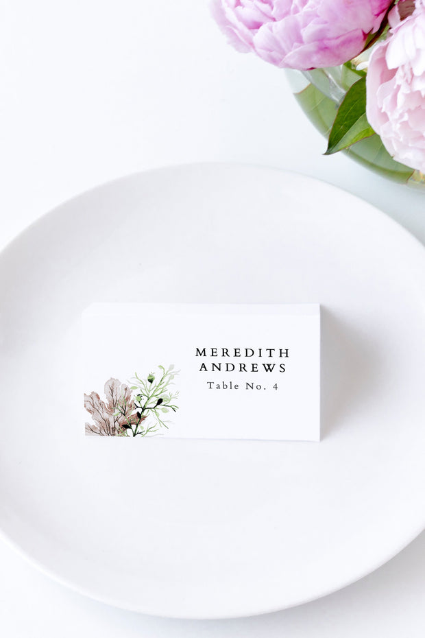 Alana - Modern Beach Wedding Place Cards Template - Unmeasured Events