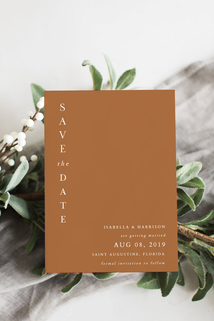 Mia - Burnt Orange Save the Date Template - Unmeasured Events