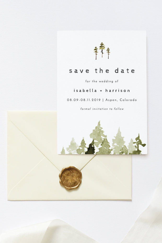 Jenna - Rustic Pine Tree Wedding Save the Date Template - Unmeasured Events