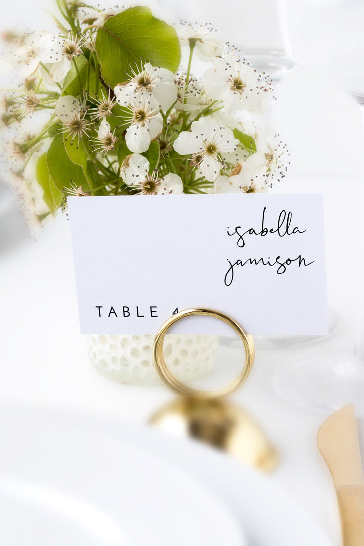 Adella - Modern Minimalist Handwriting Wedding Place Card Template - Unmeasured Events