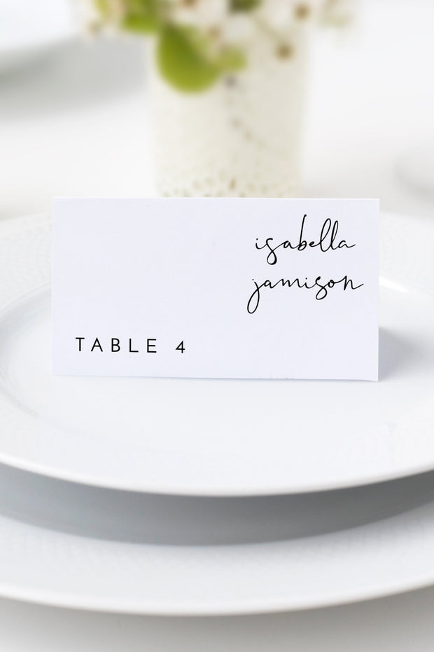 Adella - Modern Minimalist Handwriting Wedding Place Card Template