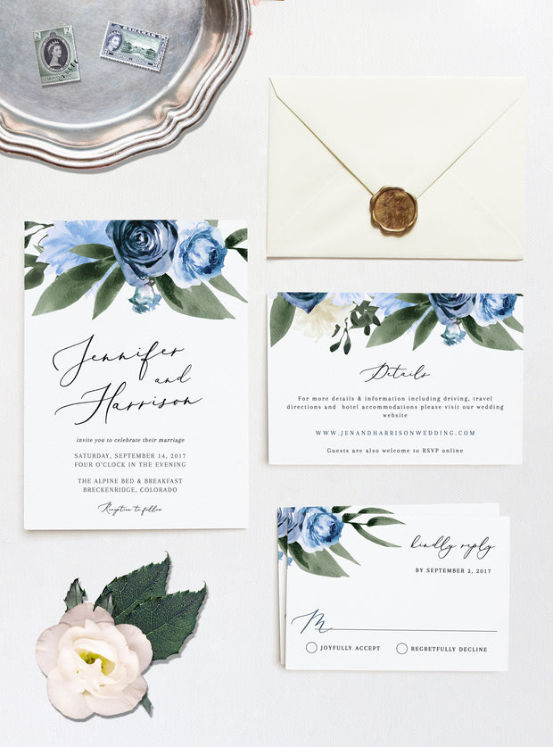 Milena - Dusty Blue Floral Wedding Invitation Template Bundle