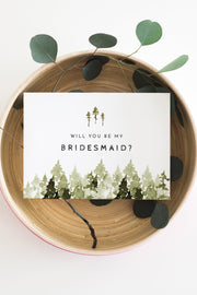 Jenna - Rustic Pine Tree Bridesmaid Proposal Card Template