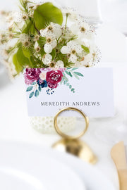 Bella - Marsala Floral Wedding Place Card Template - Unmeasured Events