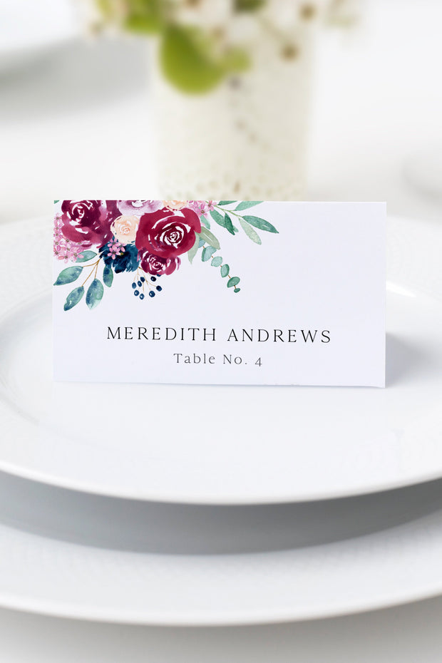 Bella - Marsala Floral Wedding Place Card Template