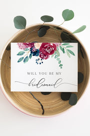 Bella - Marsala Floral Wedding Bridesmaid Proposal Card Template - Unmeasured Events