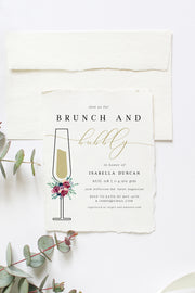 Bella - Marsala Floral Bridal Shower Brunch Invitation Template