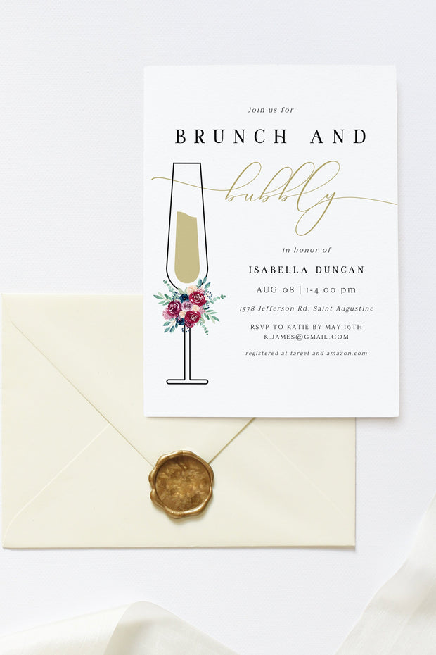 Bella - Marsala Floral Bridal Shower Brunch Invitation Template - Unmeasured Events