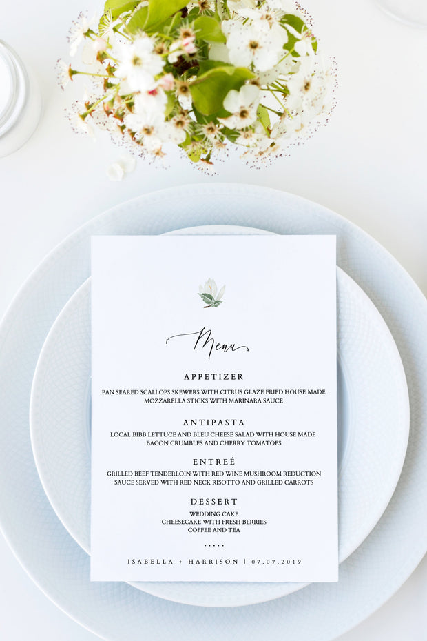 Cara - White Magnolia and Succulent Wedding Menu Template