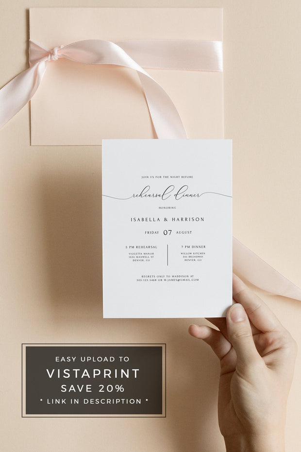 Asher - Minimalist Calligraphy Wedding Rehearsal Dinner Invitation Template