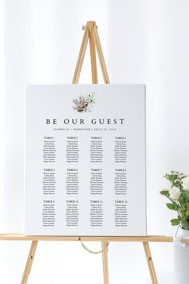 Alana - Modern Beach Wedding Seating Chart Template - Unmeasured Events