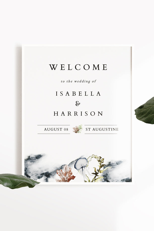 Alana - Modern Beach Wedding Welcome Sign Template - Unmeasured Events