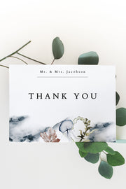 Alana - Modern Beach Wedding Thank You Card Template - Unmeasured Events
