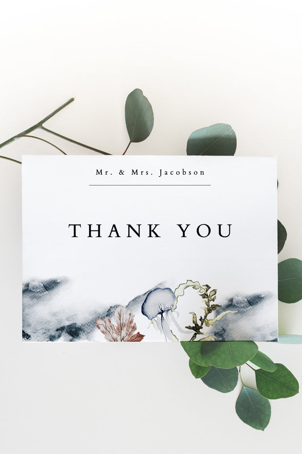Alana - Modern Beach Wedding Thank You Card Template