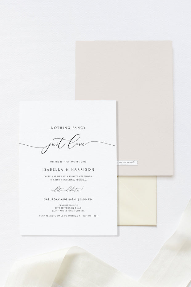 Asher - Minimalist Calligraphy Elopement Announcement Template - Unmeasured Events