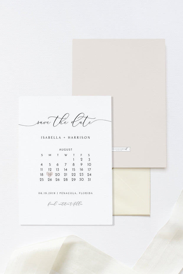 Asher - Minimalist Calligraphy Wedding Calendar Save the Date Template